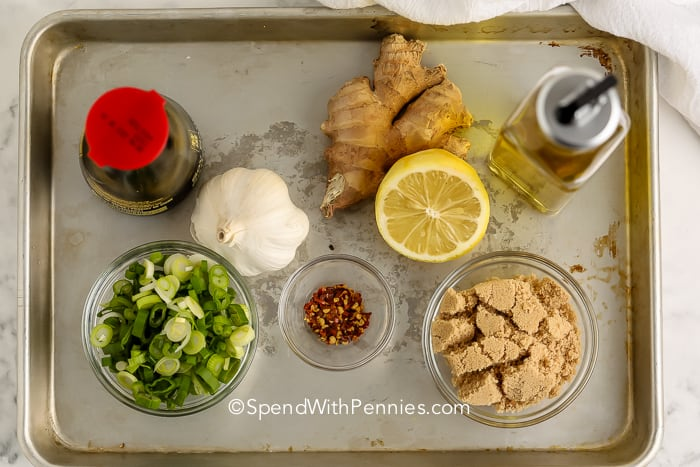 ingredients for Ginger Soy Marinade on a sheet pan