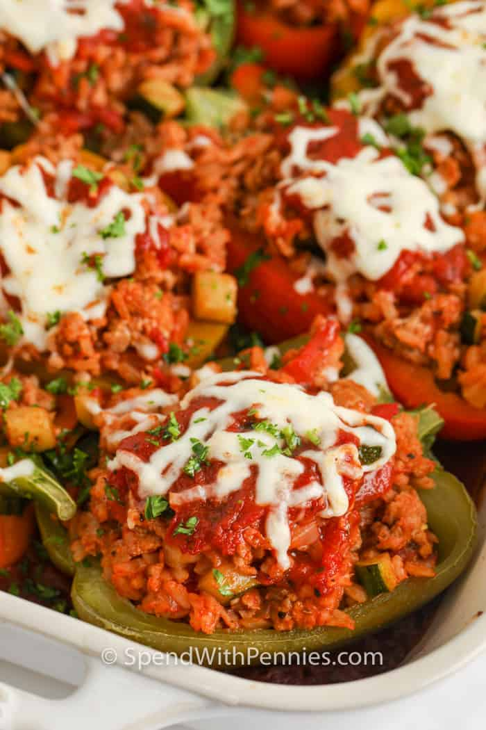 cooked Ground Turkey Stuffed Peppers in a pan