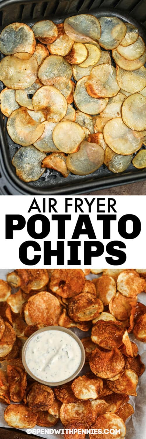 Air Fryer Potato Chips in the air fryer and plated with a title