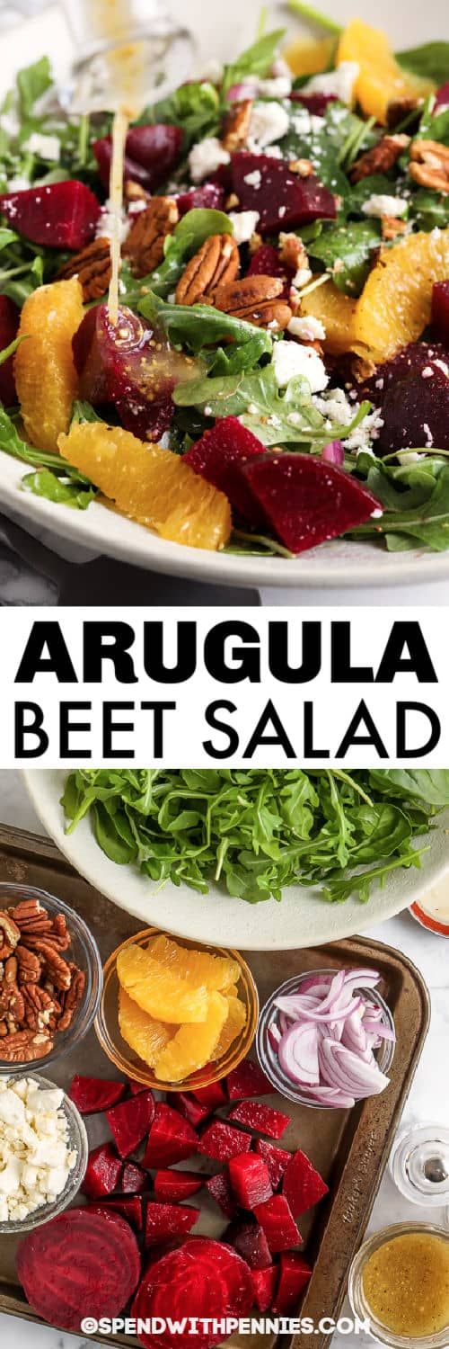 ingredients to make Arugula Beet Salad with plated dish and a title