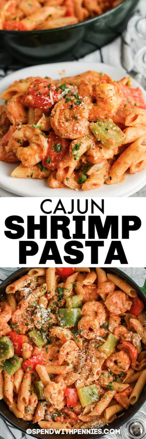Cajun Shrimp Pasta plated and in the pot with a title