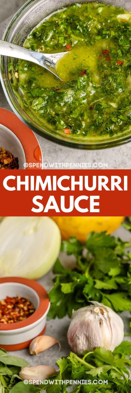 Chimichurri-saus ingrediënten en Chimichurri-saus in een kom met schrijven