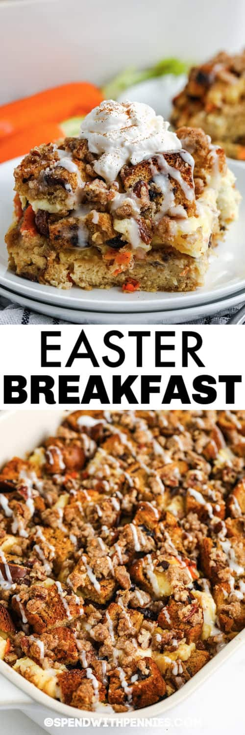 Easter Breakfast Bake in a dish and plated with a title