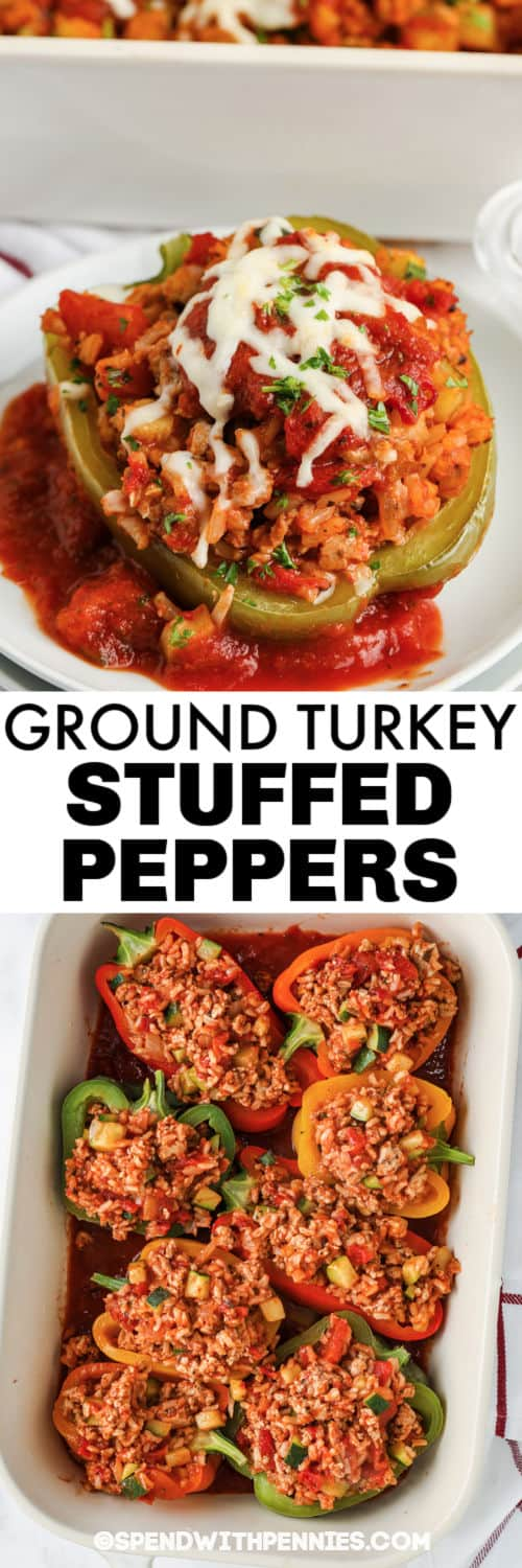 Ground Turkey Stuffed Peppers in the pan and plated