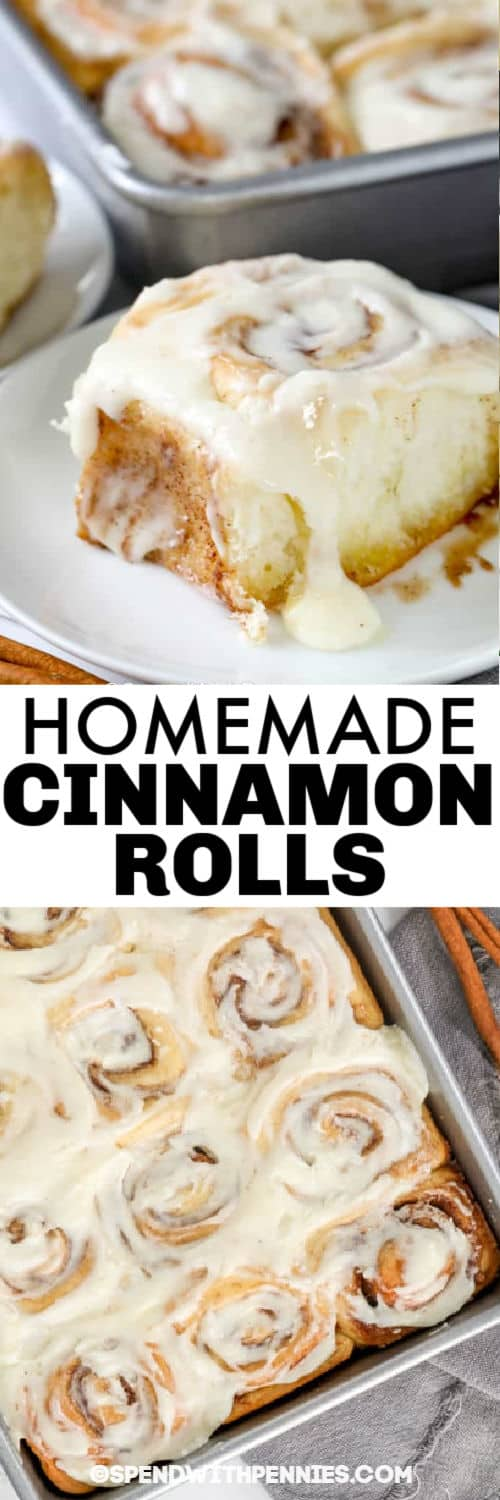 Homemade Cinnamon Rolls in the baking pan and plated with a title