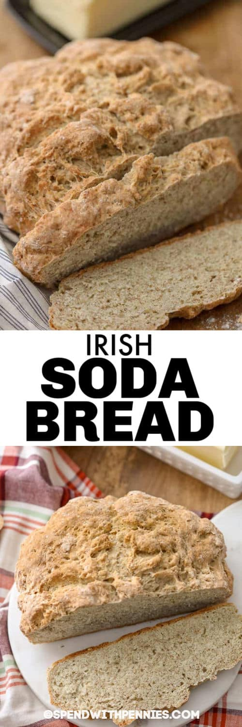 Irish Soda Bread on a plate and close up with a title