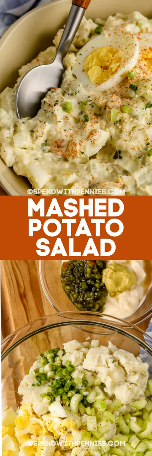 Mashed Potato Salad ingredients in bowls and Mashed Potato Salad in a bowl with a title