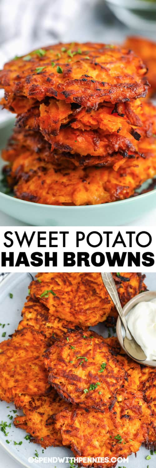plated Sweet Potato Hash Browns with a title
