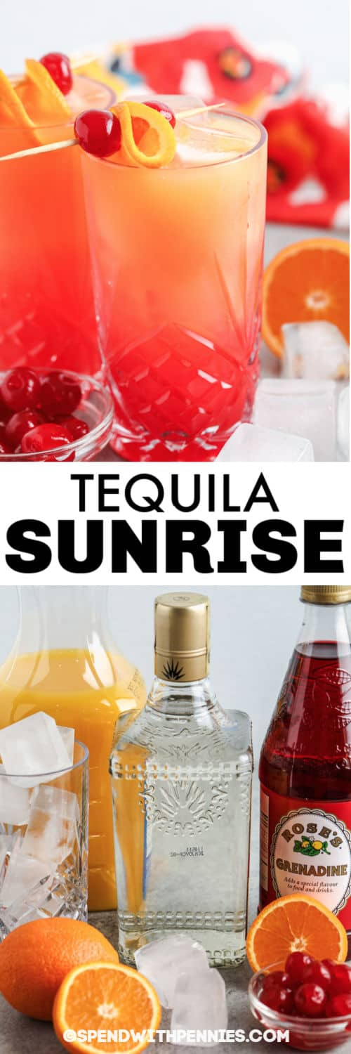 ingredients to make Tequila Sunrise with glass full and a title