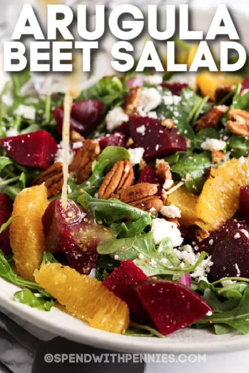 Arugula Beet Salad with writing