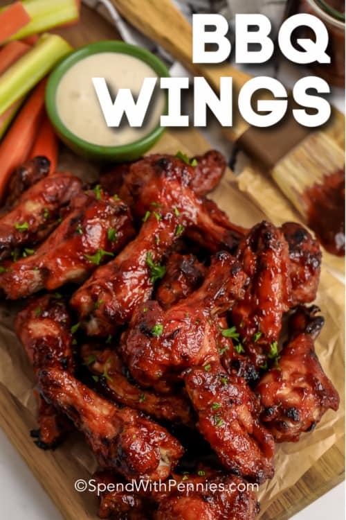 BBQ wings with dip and a title