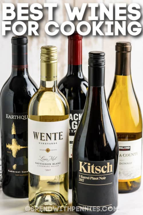 Best Wines for Cooking on a table with writing