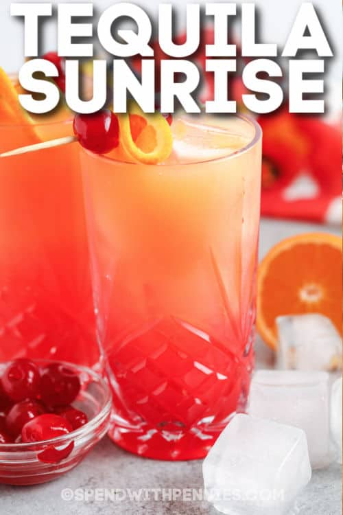Tequila Sunrise with cherry and orange garnish and a title