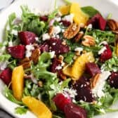 Arugula Beet Salad in a white plate