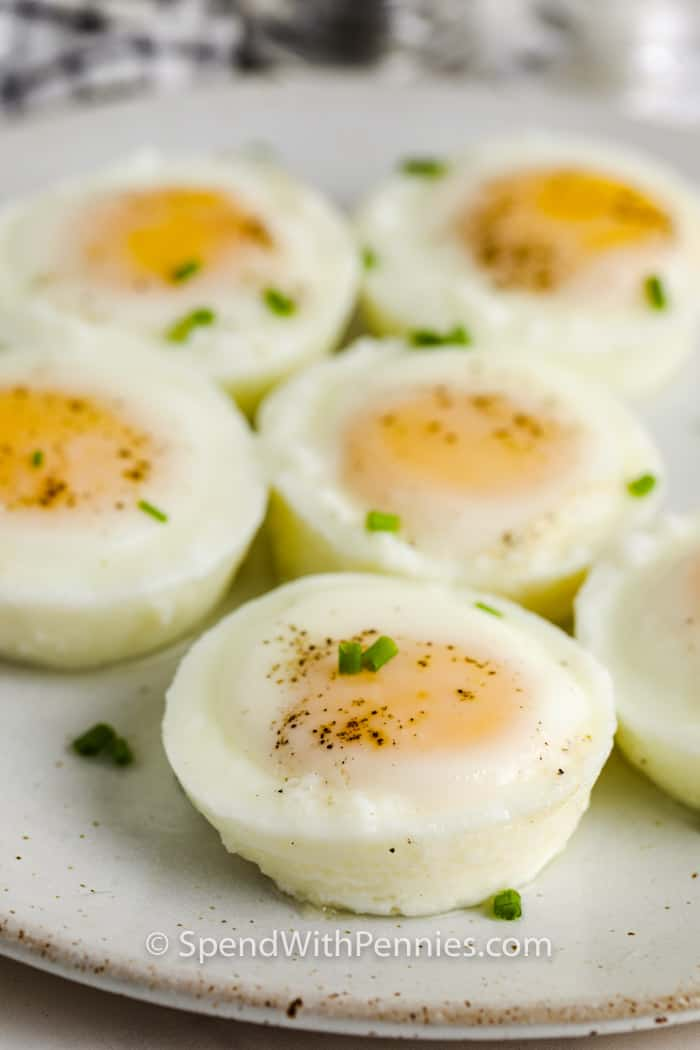 Oven Poached Eggs on a plate