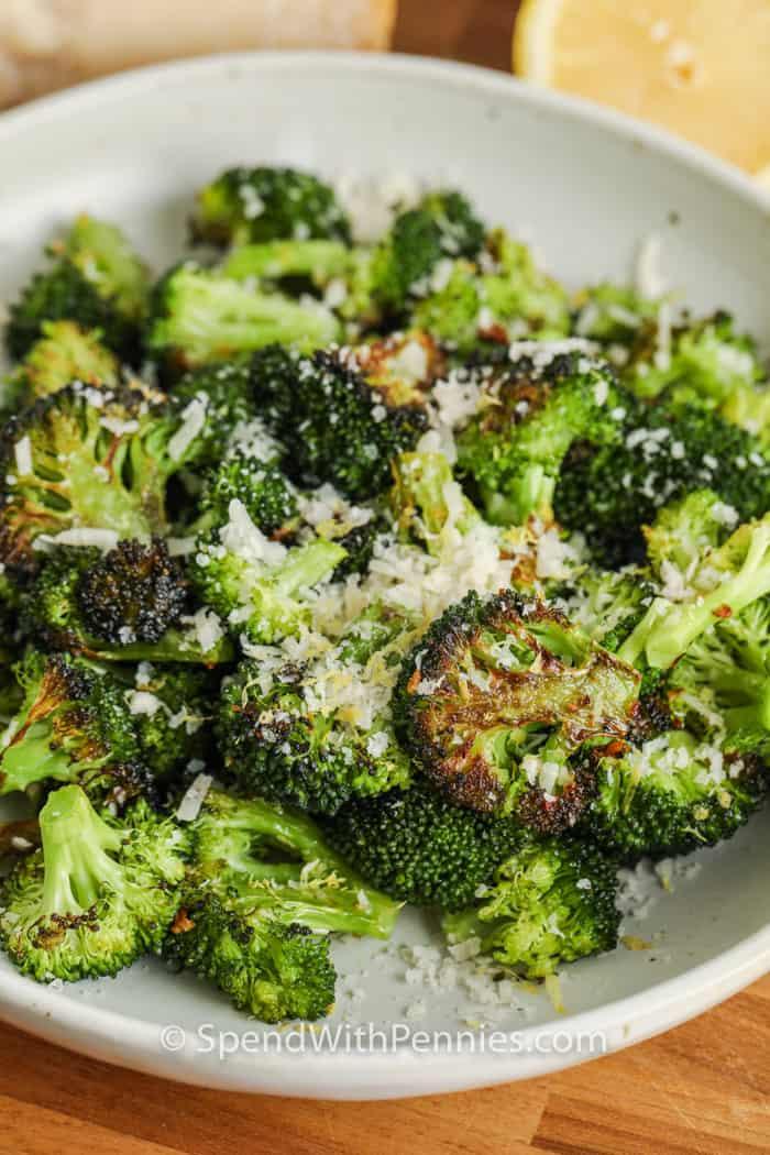 plated Oven Roasted Lemon Parmesan Broccoli