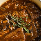 top view of Round Steak and Mushrooms in the pot
