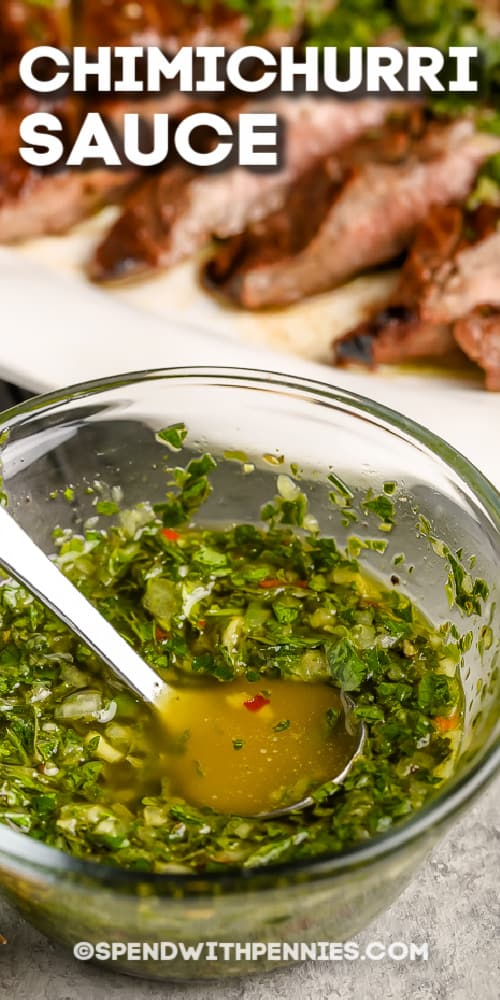 Chimichurri Sauce in a bowl with a title