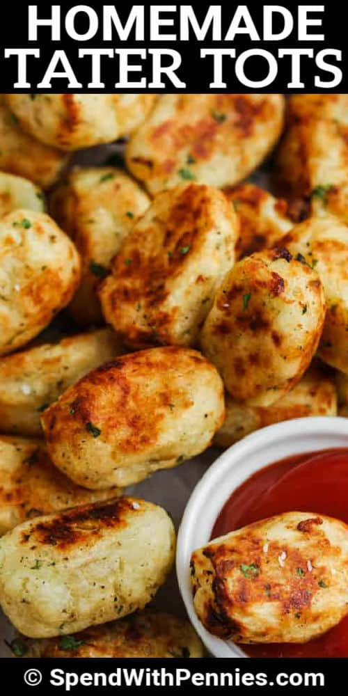 Homemade Tater Tots with writing