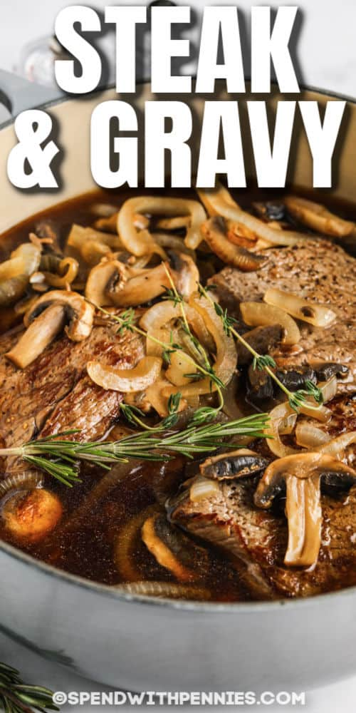 Round Steak and Mushrooms with writing