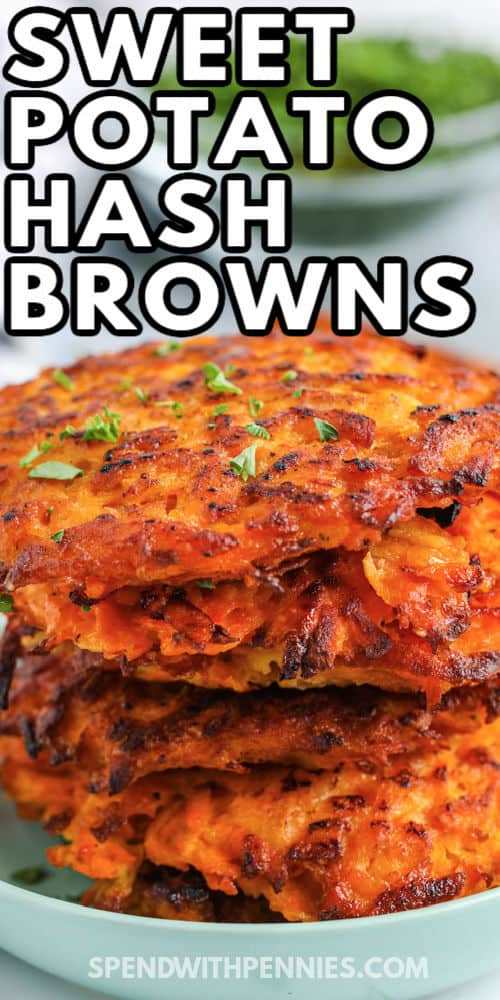 close up of Sweet Potato Hash Browns with a title