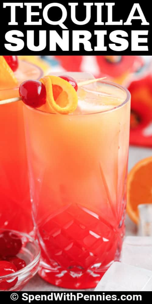 close up of Tequila Sunrise with a title