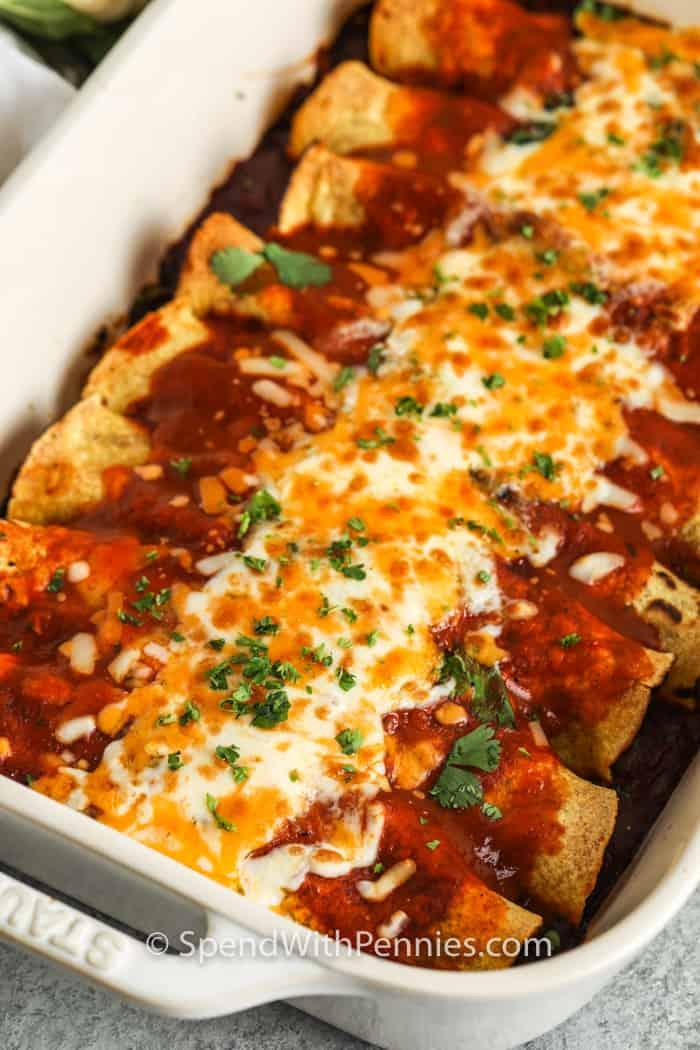 Veggie Enchiladas baked in a casserole dish