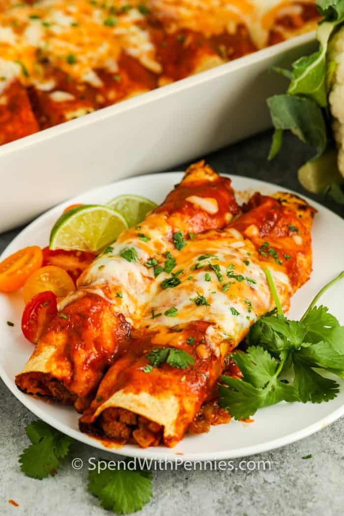 plated Veggie Enchiladas