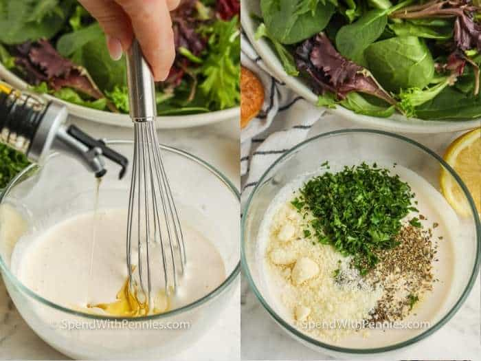 process of adding ingredients to bowl to make Creamy Italian Dressing