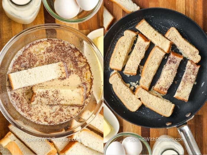 process of coating bread and cooking in a pan to make French Toast Sticks