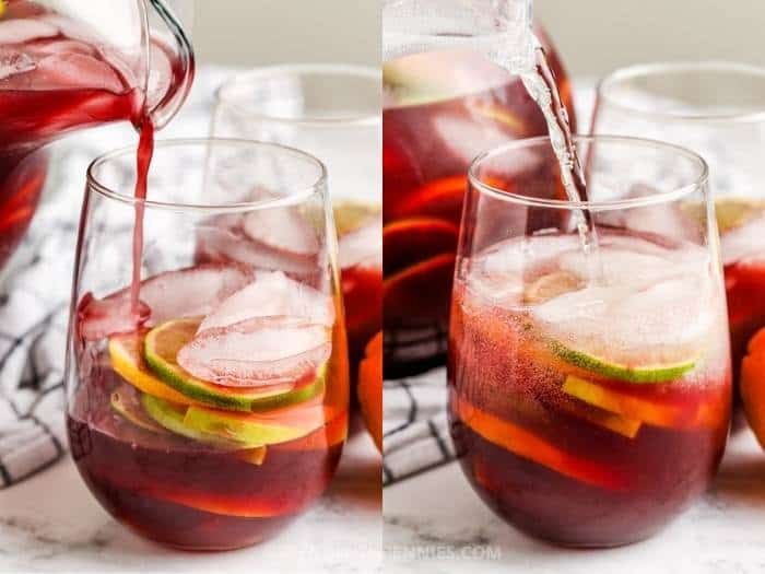 process of adding ingredients to glass to make Red Sangria