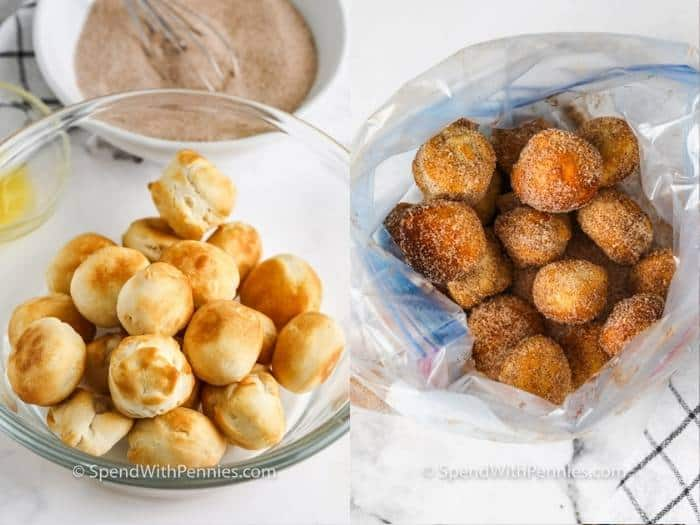 process of coating Three Ingredient Donut Hole Recipe with cinnamon sugar