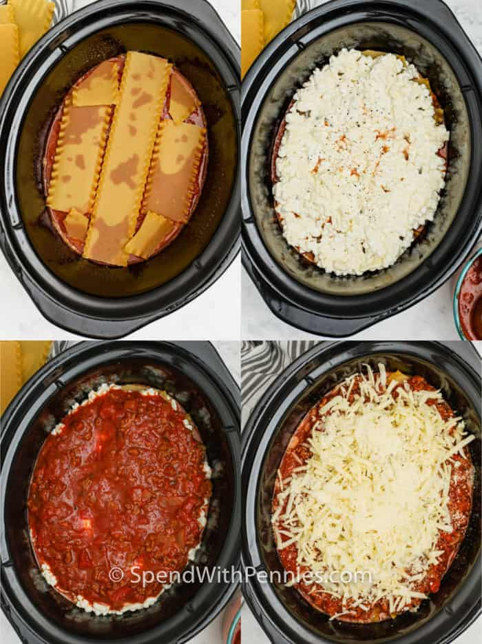 process of adding layers to pot to make Crock Pot Lasagna