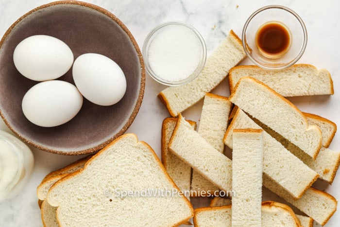 ingredients to make Air Fryer French Toast Sticks