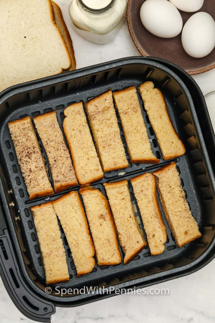 Air Fryer French Toast Sticks in the air fryer before cooking