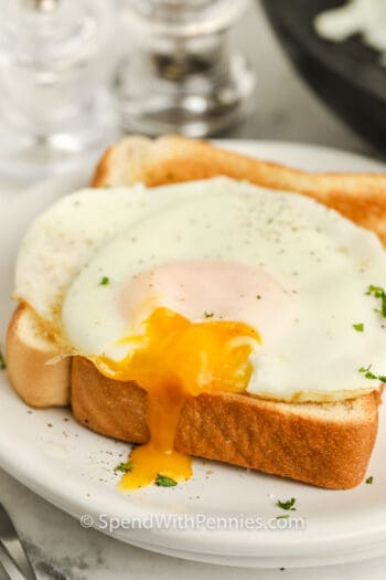 close up of Basted Eggs on a piece of toast