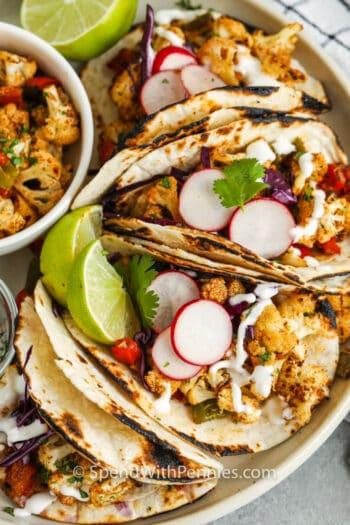 top view of Cauliflower Tacos on a plate