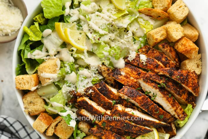 top view of Chicken Caesar Salad