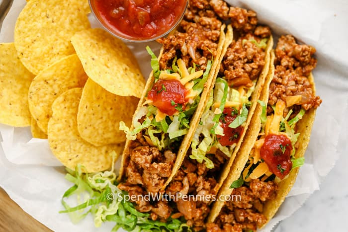 top view of Easy Turkey Tacos