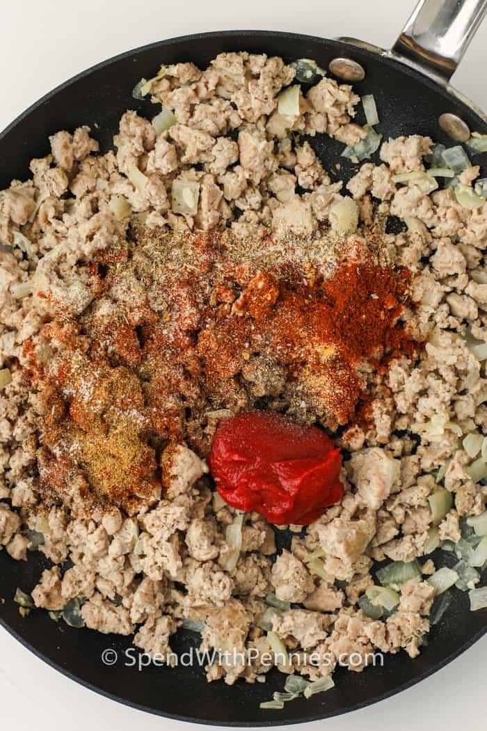 adding seasonings to turkey to make Easy Turkey Tacos