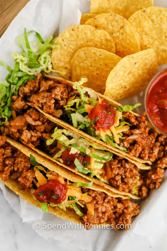 top view of plated Easy Turkey Tacos