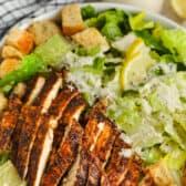 close up of grilled Chicken Caesar Salad