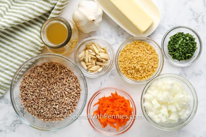 ingredients to make Farro Pilaf