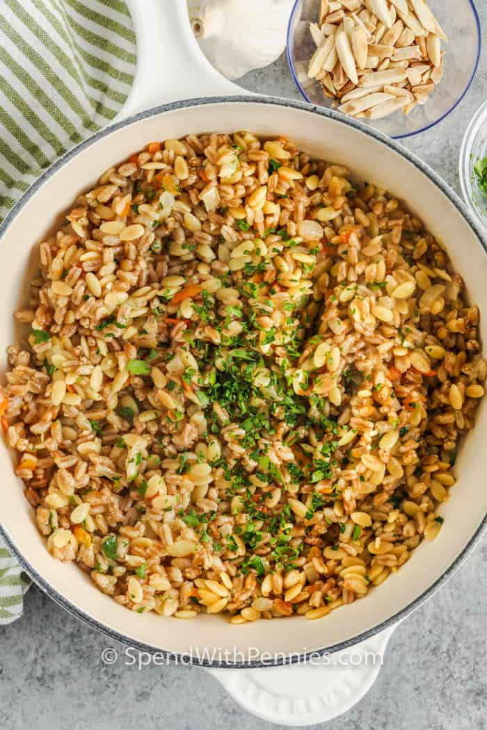 top view of cooked Farro Pilaf in the pot