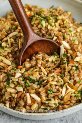 close up of plated Farro Pilaf