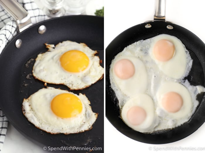 Cooking eggs in a frying pan