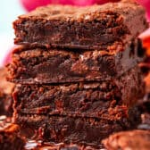 fudgy brownies stacked