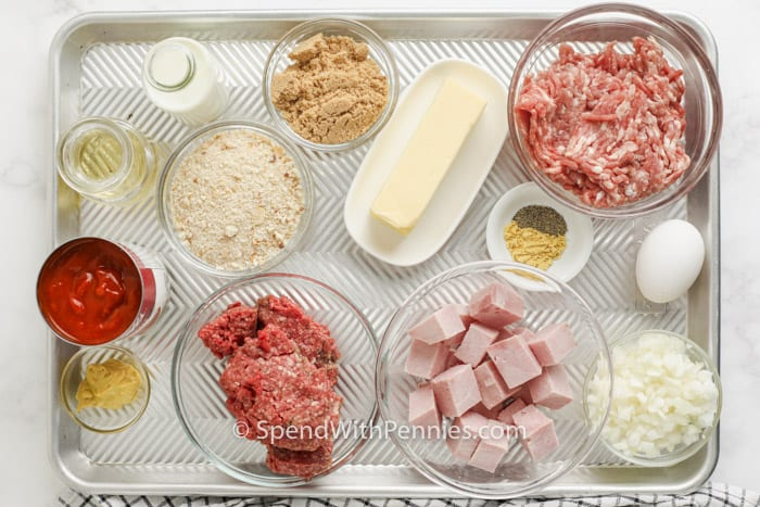 ingredients to make Ham Balls in bowls