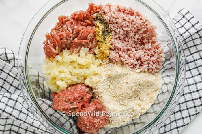 ingredients to make Ham Balls in a glass bowl