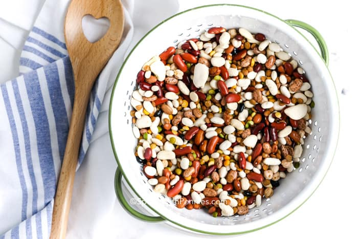 Dried beans in a colander